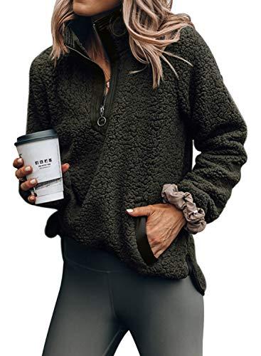 Acelitt Womens Solid Thick Loose Winter V Neck Oversized High Neck Zip Fluffy Fleece Pullover Outerwear Pockets Green Medium