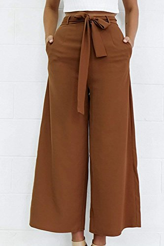 Semplice Sciolto High Pantaloni Libero Pantaloni Fashion Eleganti Alla Solidi Donna HaiDean Brown Grazioso Palazzo Tempo Colori Estivi Waist Glamorous Pantaloni Baggy Moda Pantaloni 5qXyxfwwZt