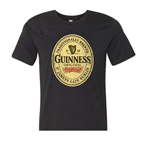 Guinness Mens Beer Label Shirt - The Irish Stout Brewery Logo Shirt Graphic T-Shirt (M) - Guinness Beer Stout