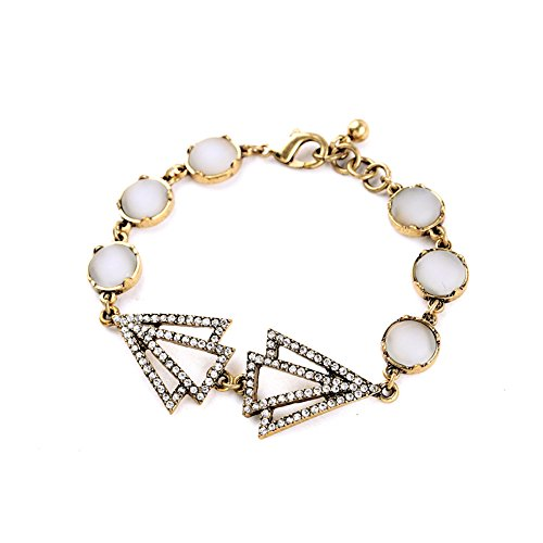 Avery and May Vintage Fancy Bling Crystal Chain Bangle Bracelet for Women, Yellow Gold & White with Rhinestones (Gold Bracelets Chains Yellow Glass)