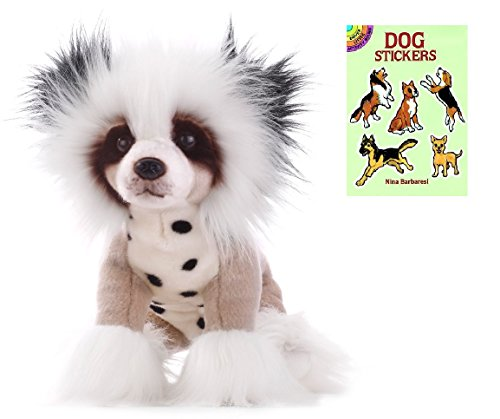 [Demdaco Chinese Crested Dog Plush Animal with Sticker Book] (Dog Grinch Costumes)