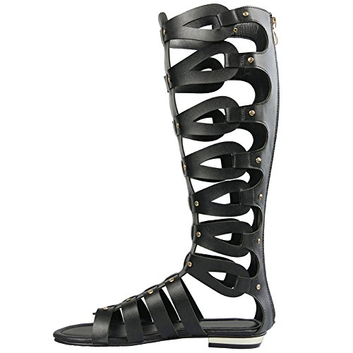 Knee Black Boots Cut Womens Flat Out Sandals Gladiator acUtUqSAO