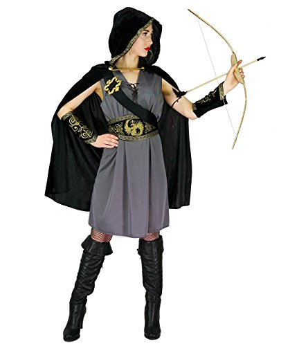 Women's Hunter Hooded Huntress Costume (L) Grey/Black
