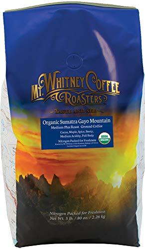 Mt. Whitney Organic Sumatra Mountain Gayo, Ground Coffee – 5 lb bag