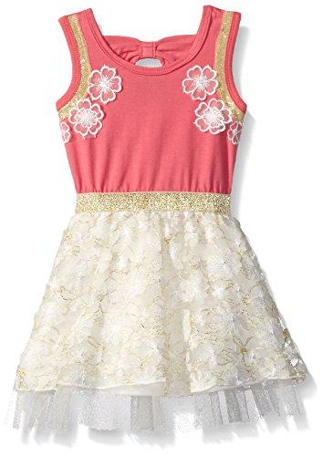 Price comparison product image Girls Rule Little Girls' Dress Glitter Waistband Lace, Salmon, 5