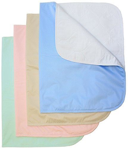 Washable Bed Pads / Reusable Incontinence Underpads 24x36 - 4 PACK - Blue, Green, Tan and Pink - Ideal For Children And Adults Wholesale Incontinence Protection by Careoutfit