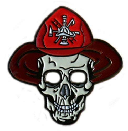 Be The Ball 4U Skull Firefighter Cool Golf Ball Marker and Matching Flame Hat Clip