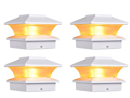 Pack of 8 Solar Powered White Outdoor Garden Deck Patio F...