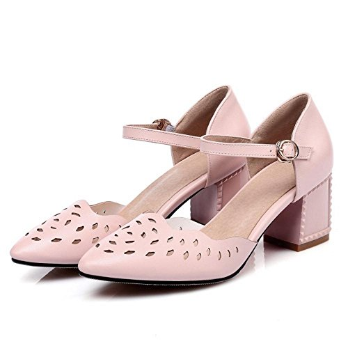 Coolcept Women Summer Dress Sandals Closed Toe Heels Pink UNzxyp4j