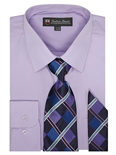 Long Sleeve Dress Shirt, With Tie And Hanky - Lavender (16-16.5) 36/37 ()