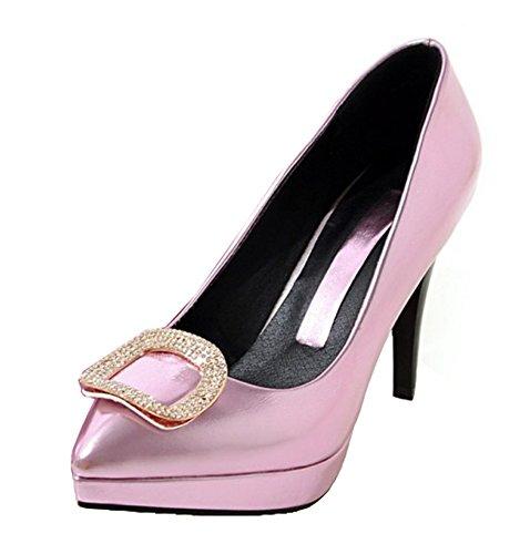 Aisun Dames Elegante Puntschoen Laag Uitgesneden Jurk Platform Slip Op Hoge Naaldhakken Pumps Schoenen Roze 1
