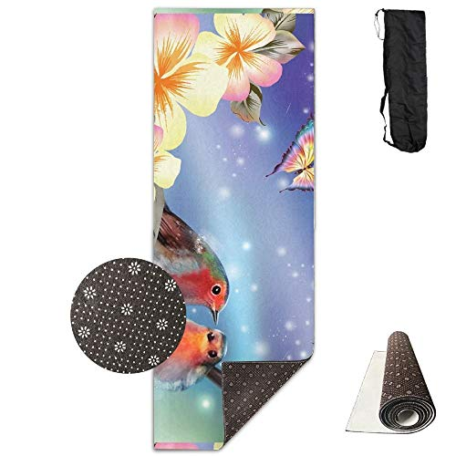 Birds Butterflies Blossoms Flowers Deluxe,Yoga Mat Aerobic Exercise Pilates Anti-Slip Gymnastics Mats (Sectional Leather Discount)