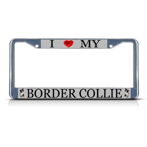 (Bhartia I Love My Border Collie Dog Heavy Duty License Plate Frame Stainless Metal Car Tag Holder 12