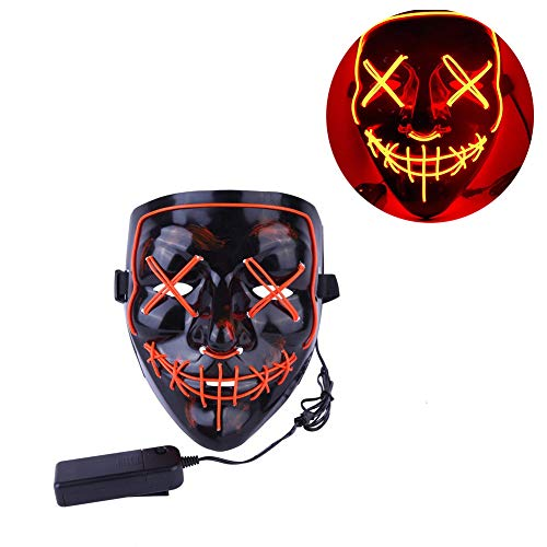 SunZing Halloween Mask LED Light up Mask for Festival Cosplay Halloween Parties (Red) ()