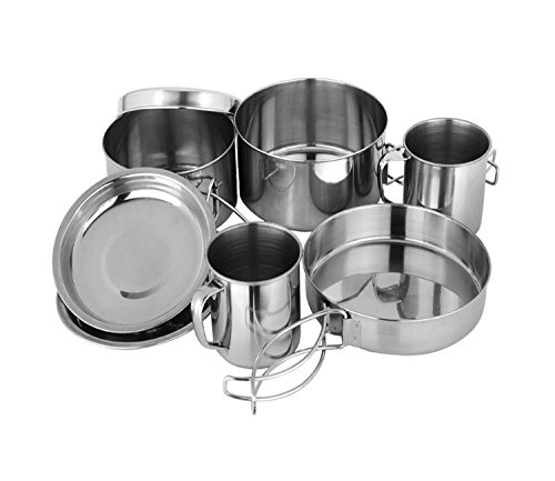 8 in 1 Camping Stainless Steel Cookware Outdoor Cook Set Camping Crockery, Pots ()