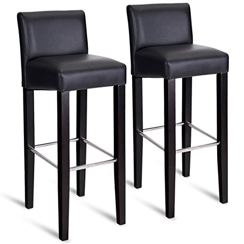 Backed Bar Stool - COSTWAY 40'' Bar Stool Modern Contemporary Bar Height Backed Padded Seat Pub Bistro Kitchen Dining Side Chair Barstools with Solid Wood Legs (Black, 2)