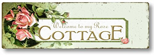 Fairy Freckles Studios Item 95 Vintage Style Rose Cottage Welcome Sign ()