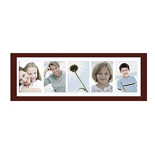 Adeco 5 Openings Walnut Wood Decorative Wall Hanging Photo Picture Frame - Made to Display Five 5x7 - Images Frame Specs