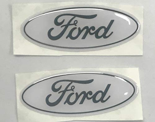 Logo Decals Ford - Sparkoo F-57W 2X White Steering Wheel Logo Emblem Badge Overlay Decal For Ford F-150 F-250 F-350 (0.875in x 2.25in) (White)
