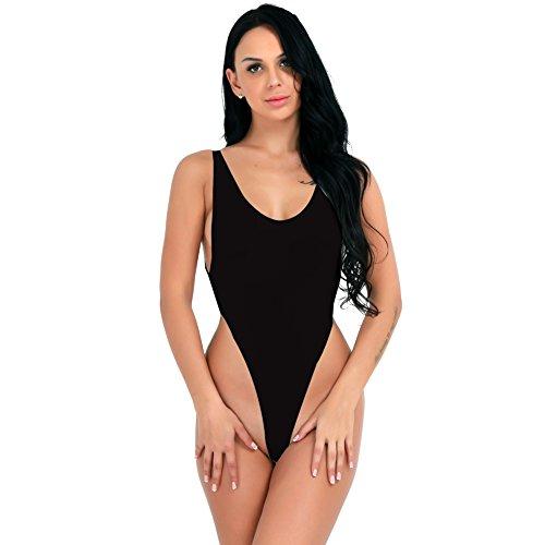 YiZYiF Women's See Through Unlined Thongs High Cut Bodysuit Swimsuit Mesh Leotard Top Black