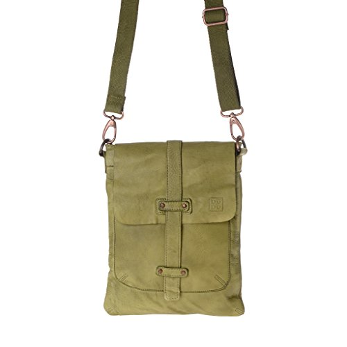 Washed Leather Man Bag With Shoulder Garment Dyed Green Pistachio Dudu