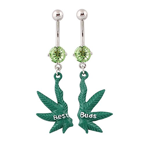 WOWOHE Belly Button Rings Navel Rings Surgical Steel A Pair Green Leaves Best Friends 14g Belly Rings Bars