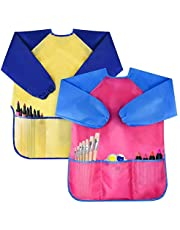 Jolik 2 Pack Kids Art Smocks Children Waterproof Artist Painting Aprons with Long Sleeve and 3 Pockets for Age 3-8 Years