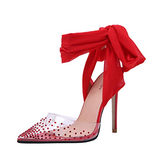 Cenglings Women's Sexy PVC Transparent Rhinestone Pointed Toe Pumps Stiletto High Heels Sandals Lace Up Bowknot Party Shoes Red -
