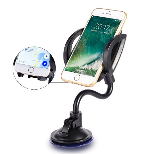 Okitry Cell Phone Holder for Car - Windshield and Dashboard Long Arm Car Mount with Release Button for iPhone 7 Plus 6s 6 Plus - Samsung Galaxy S8 Edge S7 S6 Note 5 - LG - Nexus and More