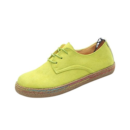 Boots Quality Ugg High (Creazy Women Ladies Soft Flat Ankle Martin Shoes Female Suede Flock Lace-Up Boots (Yellow, 41))