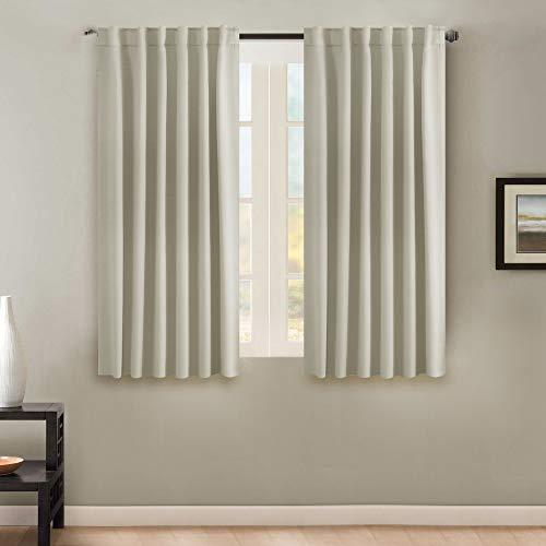 - H.VERSAILTEX Premium Blackout 63-inch Curtain Panels Pair - Back Tab/Rod Pocket Window Drapes for Bedroom/Living Room (Solid Cream)