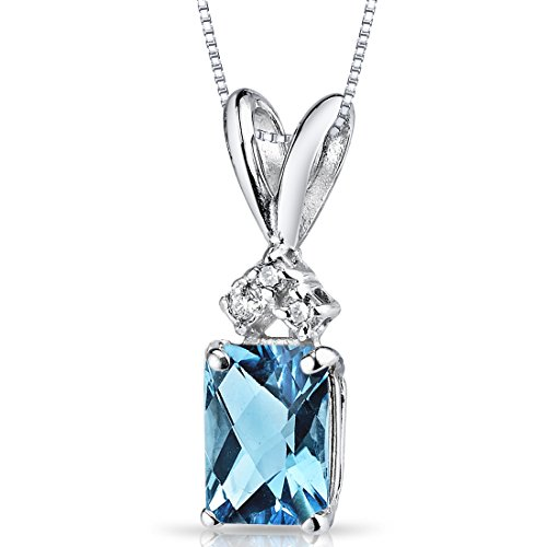 (14 Karat White Gold Radiant Cut 1.00 Carats Swiss Blue Topaz Diamond Pendant)