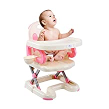 BleuMoo Foldable Adjustable Multi-function Baby Chair/Dining Chair Babies Toddlers High Chair with Tray (Pink)