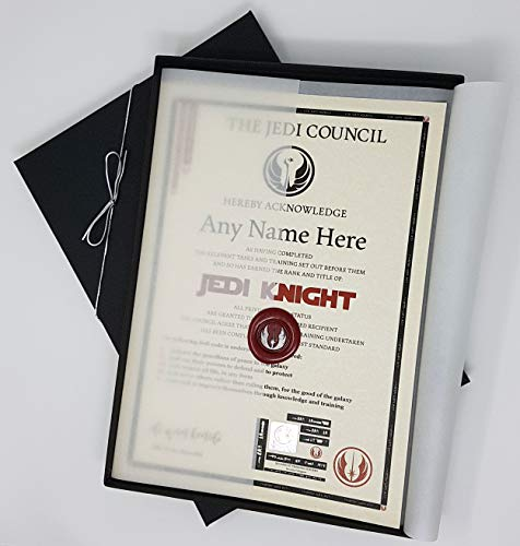 planetsforsale Star Wars Jedi Knight Certificate in a Presentation Gift Box - Personalized with The Name of Your Choice ()