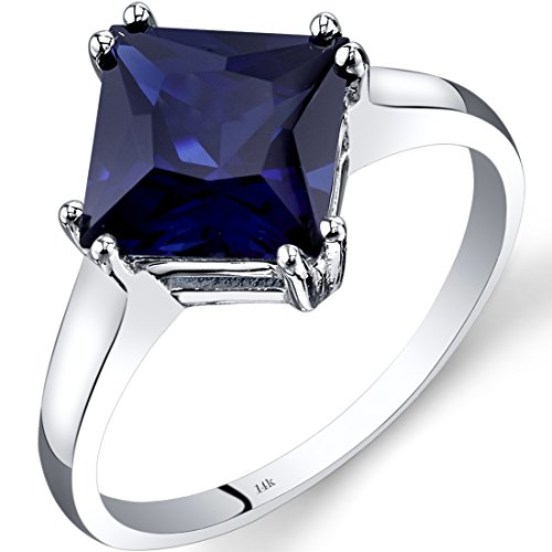 (Peora 14K White Gold Created Sapphire Solitaire Ring 3.25 Carat Princess Cut)