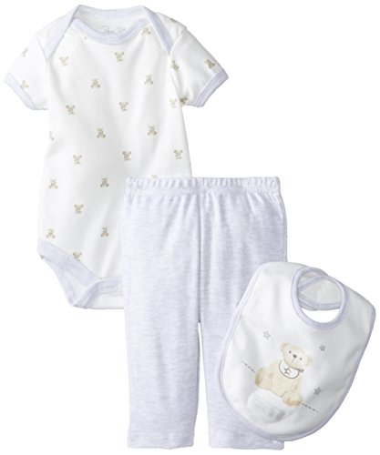 Rene Rofe Baby Unisex-Baby Newborn Teddy Bear 3 Piece Pant Set with Bodysuit and Bib, Multi, 3-6 Months