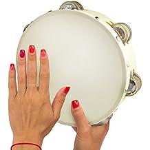Tambourine 8 inch Double Row Jingles Musical Instrument - Handheld Tambourine for Church Kids Adults
