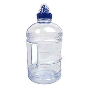 BPA Free Plastic Water Bottle Clear Blue 64OZ/1.89L Half Gallon Drink Gym Canteen Jug Container Camping Hiking Drinking Water Bottle Sports Cap For Easy Drinking From Bottle