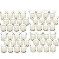 Hosley 48 Pack Warm White Unscented Clear Glass Filled Votive Candles - Your Choice of Color and Quantity. Hand Poured Wax Candle Ideal Gifts for Aromatherapy Spa Weddings Birthdays Holidays Party