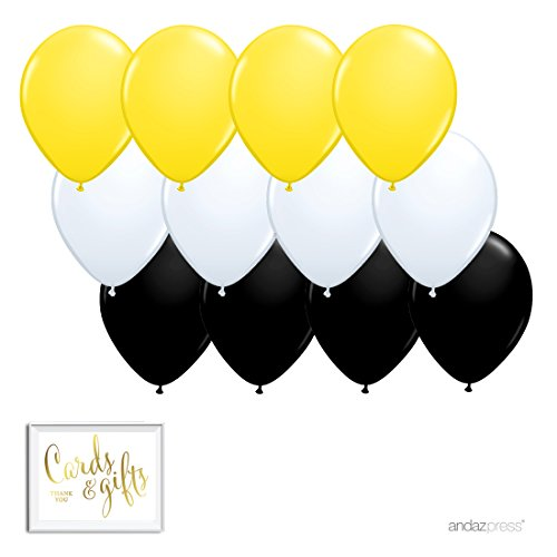 Andaz Press 11-inch Latex Balloon Trio Party Kit with Gold Cards & Gifts Sign, Yellow, White and Black, 12-pk, Bee Bumblebee Birthday Baby Shower Decorations -