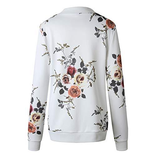 01 Lunghe Corto Moda Giacca E Stampato Cappotto Donne Colorato Minetom Jacket Alla Bianco Autunno Maniche Fiore Giacche Primavera SOanwCPq