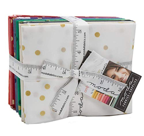Ombre Confetti Metallic 17 Fat Quarter Bundle by V and Co. for Moda Fabrics ()