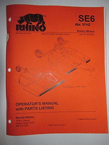 Mower Parts Catalog Manual - Rhino SE6 (New Style) Rotary Mower Operators Manual/Catalog with Parts Listing Original 00768614