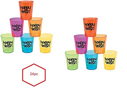 (24) New Year's Eve Shot Glasses ~ Assorted Colors Plastic 1oz Drink Glasses ~ Bars Clubs Dance Parties Homes ~ DJ Prize ~ Happy New (New Years Drinks)