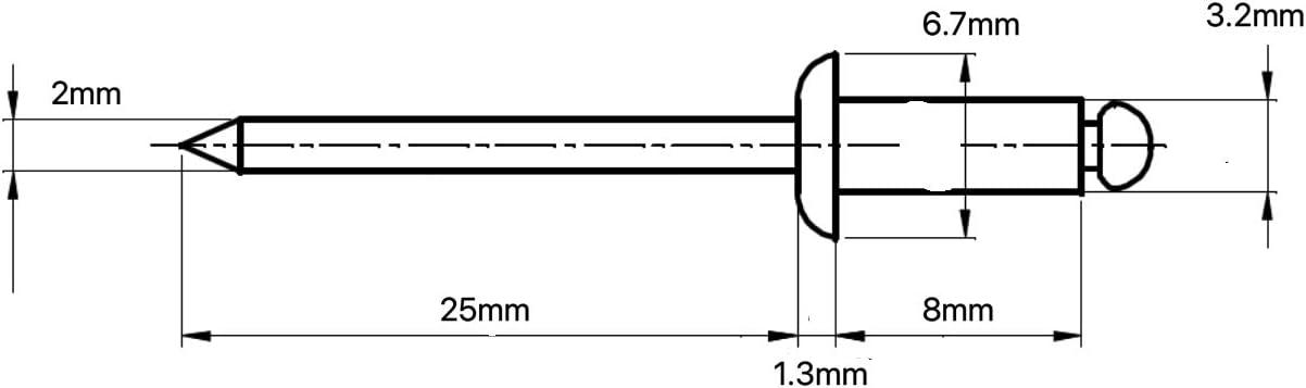 2,4 mm x 6 mm, 20 unidades Remaches ciegos de aluminio y acero