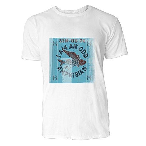 SINUS ART® Fliegender Fisch mit rotem Hintergrund Herren T-Shirts in Weiss Fun Shirt mit tollen Aufdruck