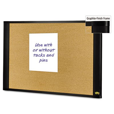 Post-it Sticky Cork Board, 36 x 48-Inches, Widescreen Graphite-Finish Frame by Post-it