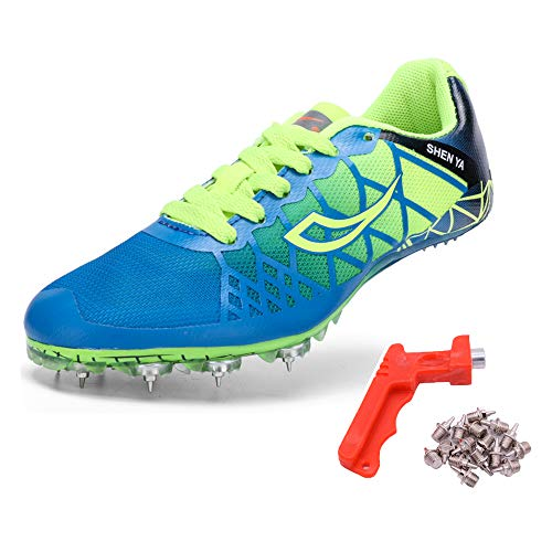 Ifrich 2019 Men Spikes Athletics Racing Shoe Track and Field (US 2, Kids Blue) ...