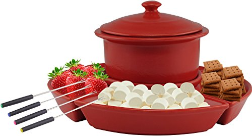Ovente 1 Liter Electric Chocolate or Cheese Fondue Melting Pot and Warmer Set, Ceramic Party Serving Tray, Includes 4 Dipping Forks, Red (CFC317R)
