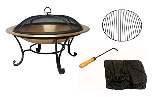 """Catalina Creations AD112 30"""" Solid Copper Fire Pit, 30 inch - STYLISHNESS: Contemporary solid hammered copper fire pit with a 4 legged powder-coated constructed base made from wrought iron - beautiful addition to a backyard, beach, camper, vacation home or cabin. QUALITY FEATURES: Copper constructed to accommodate larger fires - 30"""" diameter X 12"""" high, weighs 20 lbs. poker, log grate, metal weaved spark screen, and storage cover included. PRACTICAL DESIGN: As well as a fire pit it can also function as a decorative patio accent, beverage stand, or a unique indoor arrangement. The fire pit easily assembles with basic tools. - patio, outdoor-decor, fire-pits-outdoor-fireplaces - 416vOCdbSCL -"""